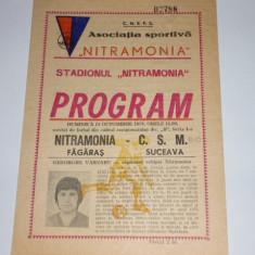Program meci fotbal NITRAMONIA FAGARAS - CSM SUCEAVA 15.10.1978