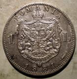 R.056 ROMANIA CAROL I 1 LEU 1881 ARGINT 4,93g