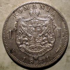 R.056 ROMANIA CAROL I 1 LEU 1881 ARGINT 4, 93g - Moneda Romania