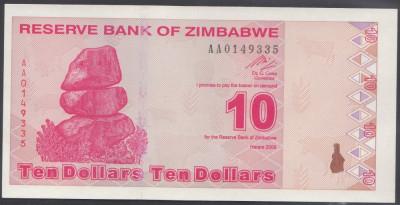 Zimbabwe 10 dolari 2009 UNC foto
