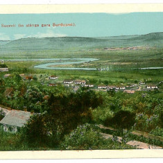1363 - SUCEAVA, Valea si gara Burdujeni - old postcard - unused - Carte Postala Bucovina 1904-1918, Necirculata, Printata