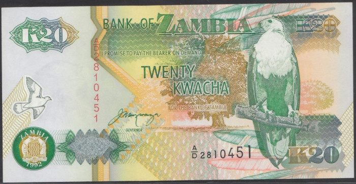 Zambia 20 Kwacha 1992 UNC