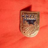 Insigna veche evreeasca, h= 2, 6 cm, metal argintat si email