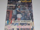 Program meci fotbal SPORTUL STUDENTESC Bucuresti - RAPID Bucuresti - august 1988