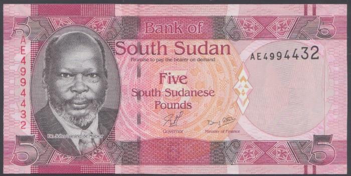 South Sudan 5 pounds 2011 UNC