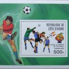 COASTA DE FILDES - CUPE MONDIALE DE FOTBAL 1982, 1 S/S NEOBLIT - E0845