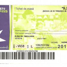 TICHET DE MASA / 2013.