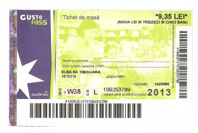 TICHET DE MASA / 2013. foto