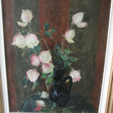 ULEI CARTON VECHI SEMNAT LEON BIJU 1880-1970 original garantie - Pictor roman, An: 1930, Flori, Impresionism