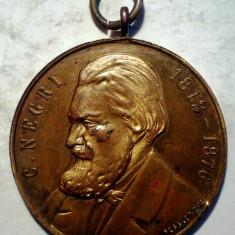 5.387 MEDALIE ROMANIA C. NEGRI 1812-1876 INAUGURARE MONUMENT GALATI 10 IUNIE 1912 30mm - Medalii Romania