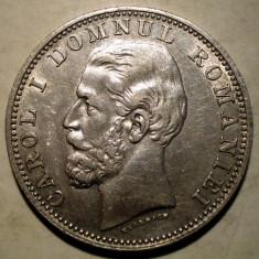 R.060 ROMANIA CAROL I 1 LEU 1881 ARGINT 5, 0g - Moneda Romania