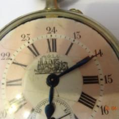 Ceas de buzunar Doxa, MARIME MARE-D=6, 5cm, G=182g-TEMATICA, LOCOMOTIVE-IN FUNCTIUNE.