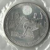 * MONEDA DE 12 EURO DE SPANIA DE ARGINT 2005 --STARE UNC--IN FOLIE DE PLASTIC !!, Europa