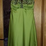 Rochie seara de nunta botez banchet din matase - Rochie de seara, Marime: 42, Culoare: Verde, Scurta, Fara maneca