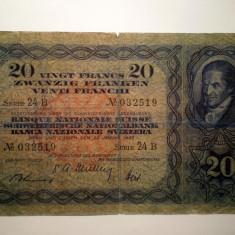 105. ELVETIA 20 FRANCS FRANCI 20 IANUARIE 1949 SR. 519