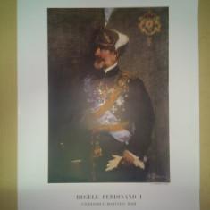 Cromolitografie portret Ferdinand I dupa tabloul din 1926, pictat de Eustatiu Stoenescu ( de colectie, RARA!!!, licitatie) - Reproduceri arta