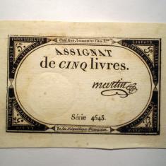 132. FRANTA REPUBLICA ASIGNAT 5 CINQ LIVRES MARTIN 1793 SR. 4645