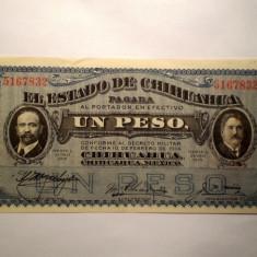 115. CHIHUAHUA MEXIC 1 UN PESO 1915 SR. 832 XF - bancnota america