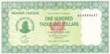 Bancnota Zimbabwe (Bearer Cheque) 100.000 Dolari 2006 - P32 UNC (mai rara)