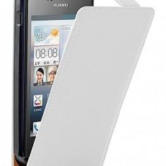 Husa HUAWEI ASCEND Y300 Flip Case Slim Inchidere Magnetica White - Husa Telefon Huawei, Alb, Piele Ecologica, Cu clapeta, Toc
