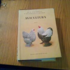 AVICULTURA  * Vol. I  -- Gh. A. Stefanescu, M. Balasescu, V. Severin  -- 1956, 614 p. cu imagin si planse color in text; tiraj : 3100 ex.