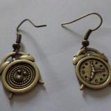Cercei atarnati bronz, cu pandantiv cu 2 fete ceas desteptator