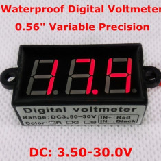 Voltmetru digital rosu, 3.5-30 V, waterproof, 3 digit, 2 fire, rezistent la apa