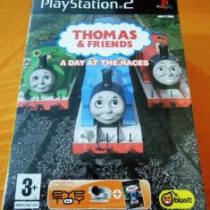 Joc Thomas and Friends a day at Races + Eye Toy, PS2, original si sigilat - Jocuri PS2 Altele, Simulatoare, 3+, Single player