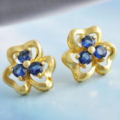 Superbi cercei 9K gold filled floare cu zircon CZ - Cercei placati cu aur