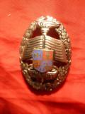 Insigna Academia Militara , metal argintat , h= 6 cm