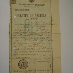 BULETIN DE NASTERE - Pasaport/Document, Romania 1900 - 1950