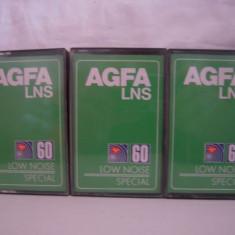 Vand 3 casete audio AGFA-LNS- 60, originale, raritate!