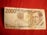 Bancnota 2000 Lire Italia 1990 ,cal.medie-buna