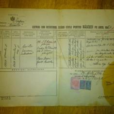 Extras din registrul starii civile pentru nascuti, emis 1944 - Pasaport/Document, Romania 1900 - 1950