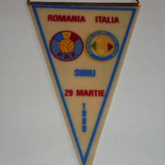 Fanion fotbal ROMANIA - ITALIA meci amical 29.03.1989