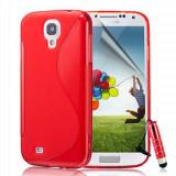 HUSA silicon TPU GEL MODEL 2014 -Samsung Galaxy S5 (s 5) -TPU s line rosie /rosu + FOLIE ECRAN si LAVETA ** Transport gratuit posta ro - Husa Telefon