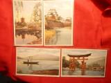Set 4 Ilustrate Turistice in Japonia ,color ,necirc.