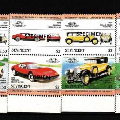 ST VINCENT 1983 AUTOMOBILE, MASINI SPECIMEN - Timbre straine