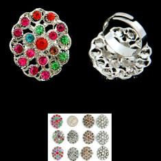 Inel, Floare cu Pietricele Decorative - Inel fashion