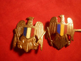 2 Insigne de Sapca Militara ,dim.=3,5x2,6 cm si 3,8x3 cm
