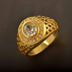 Inel Barbati dublu placat aur 18k cristal marime 9, 5 US cod 160444