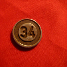 Jeton vechi LOTO , metalic , d= 2,1 cm