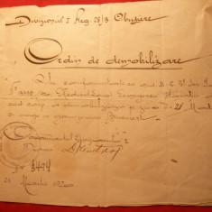 Ordin Militar de Demobilizare 1920, stampila Regiment Obuziere