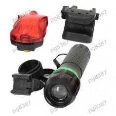 Lanterna cu 1 LED CREE si stop, pentru biciclete, focalizare rotativa-113348