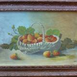 Cos cu capsuni - semnat Oprea '59 - Pictor roman, Nonfigurativ, Ulei, Impresionism