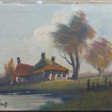 Casute pe marginea lacului - semnat MILS - Pictor roman, Peisaje, Ulei, Impresionism