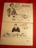 2 Caricaturi politice -semnate I.Mihoc Radnanu -tus