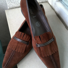 EXCEPTIONALI PANTOFI GABOR PIELE NATURALA ANTILOPA MARIME 40, 6 1/2 INTERIOR 26 CM NOI PRET ETICHETA 90 EURO - Pantof dama, Culoare: Coniac