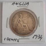CMS1 -MONEDA ANGLIA - ONE PENNY EMISA IN ANUL 1934, Europa