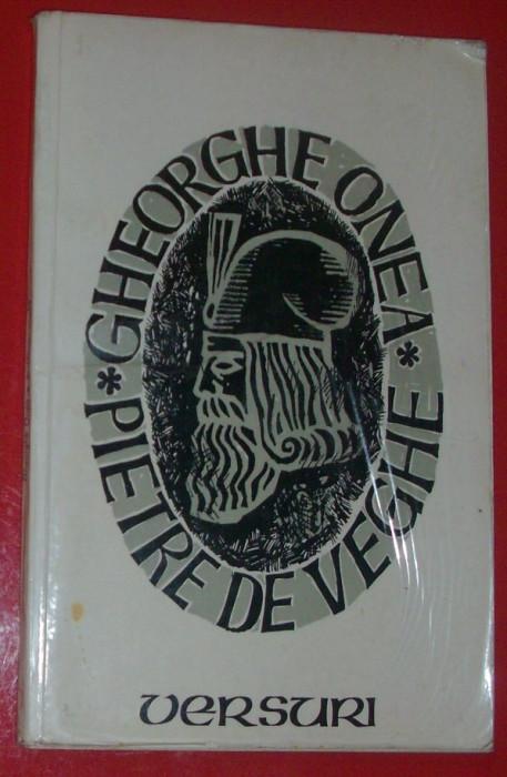 GHEORGHE ONEA - PIETRE DE VEGHE (VERSURI, editia princeps - 1977 / coperta N. NOBILESCU / tiraj 530 ex.) [dedicatie / autograf]
